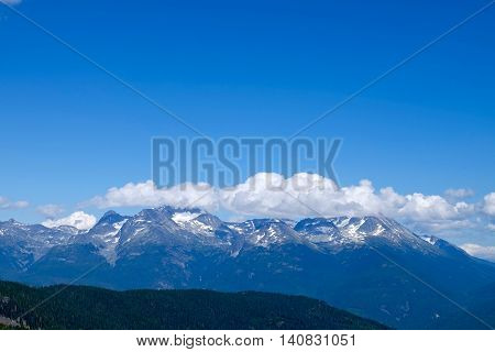 Snow capped mountains. Whistler Garibaldi Provincial Park British Columbia Canada.