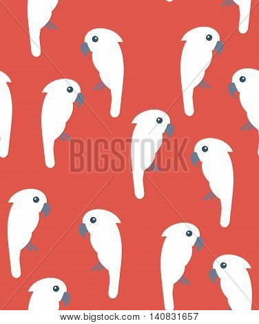 Seamless pattern with white cockatoo birds on red background. Tileable avian wallpaper