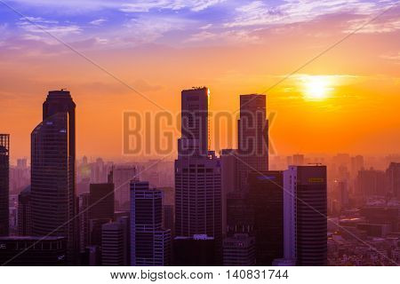 SINGAPORE - APRIL 14: Singapore city skyline and Marina Bay on April 14, 2016 in Singapore.