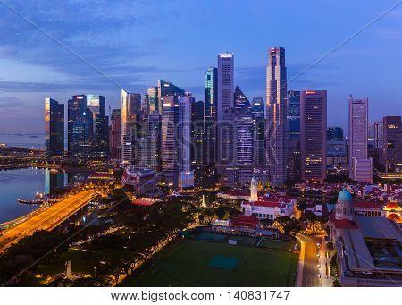 SINGAPORE - APRIL 16: Singapore city skyline and Marina Bay on April 16, 2016 in Singapore.