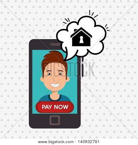 man house smartphone speak vector illustration graphic