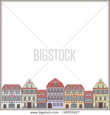 frame with the image of old houses in half-timbered style