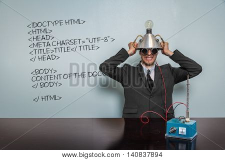 Html Code text with vintage businessman and machine at office