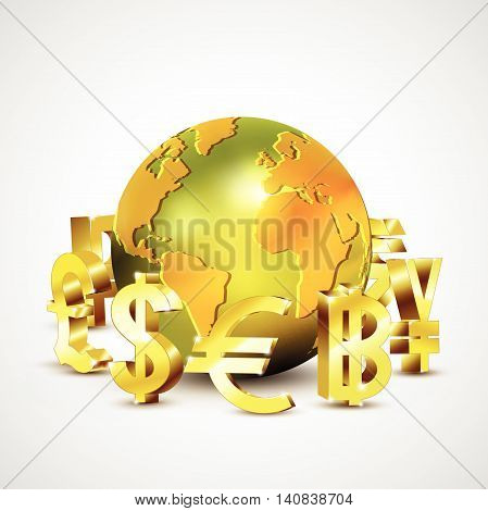 World Currency Symbols Moving Around 3D Golden World, Vector Illustration