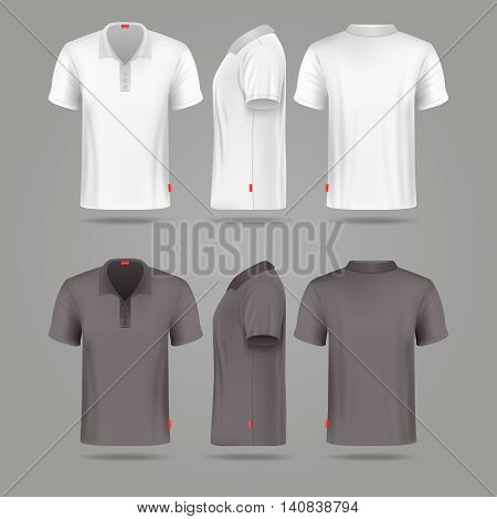 White black mens polo t-shirt front back and side views vector mockups. Template fashion tshirt for sport illustration