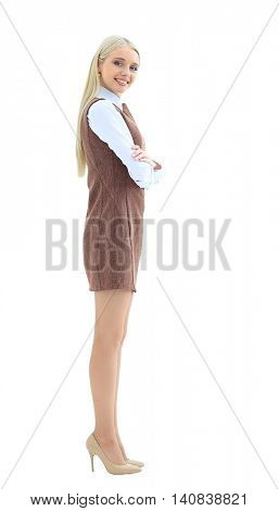 Smiling business woman stand in profile.