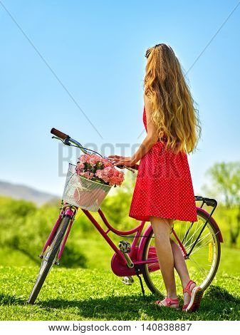 Bikes bicycle girl. Slim beautiful girl wearing red polka dots dress looking into distance keeps bicycle with flowers basket. Green grass. Back view of girl on bicycle wearing sundress .