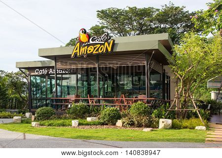 Saraburi THAILAND - Jun 15 : Cafe Amazon beverage shop at PTT Oil station on Jun 15 2016 in Saraburi THAILAND. It's a famous Thai franchise coffee house in Thailand.
