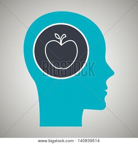 silhouette head apple fruit vector illustration graphic