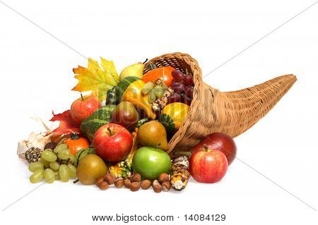 Cornucopia full of Fruits, Vegetables and Squash