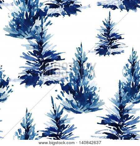 Watercolor christmas tree seamless pattern. Watercolour winter fir forest. Hand painted vivid pine tree illustration on white background