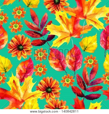 Autumn watercolor seamless pattern with autumn leaves and flowers on bright background. Hand painted fall illustration