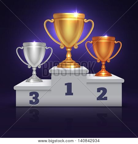 Gold, silver and bronze trophy cup, prize goblet on sport winner podium, pedestal vector. Illustration sport trophy goblet and metal goblets winners