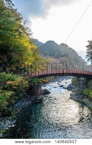 Shinkyo Bridge during Autumn in Nikko Tochigi Japan