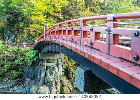 Shinkyo Bridge during Autumn in Nikko Japan