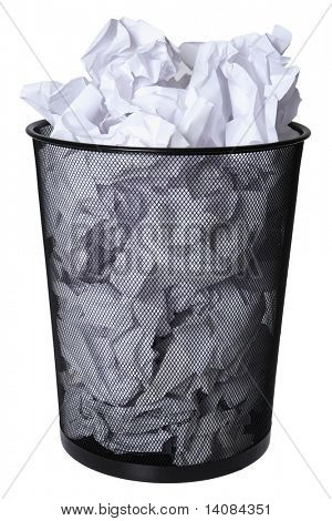 Trash can full of paper