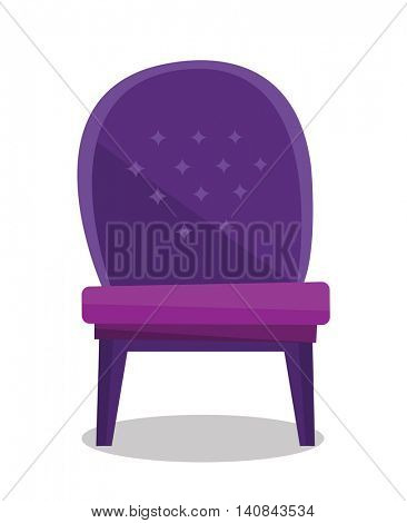Luxurious vintage armchair vector flat design illustration isolated on white background.