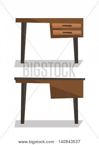 Wooden desk with drawers vector flat design illustration isolated on white background.
