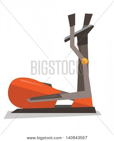 Elliptical cross trainer machine vector flat design illustration isolated on white background.