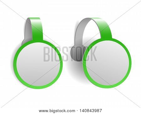 Green advertising wobblers isolated on white background