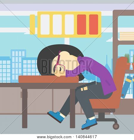 An asian woman sleeping at workplace on laptop keyboard and low power battery sign over her head. Business woman sleeping in office. Vector flat design illustration. Square layout.