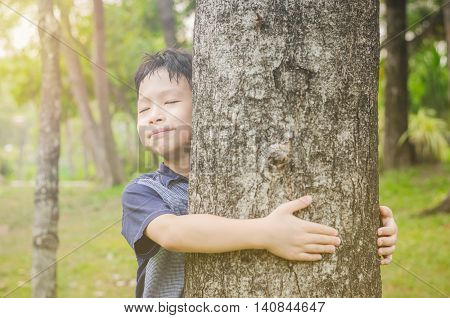 Young asian boy hugging a tree in forest