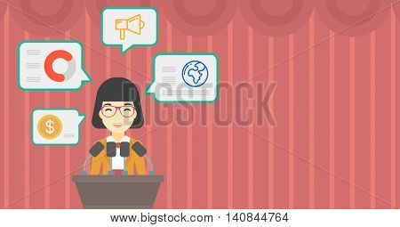 An asian speaker standing on podium with microphones at business conference. Woman giving speech at podium and speech squares around her. Vector flat design illustration. Hhorizontal layout.