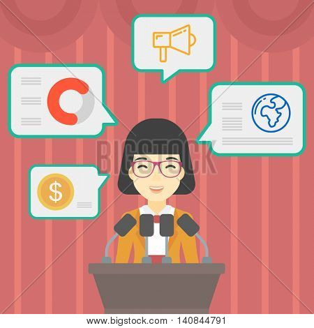 An asian speaker standing on a podium with microphones at business conference. Woman giving speech at podium and speech squares around her. Vector flat design illustration. Square layout.
