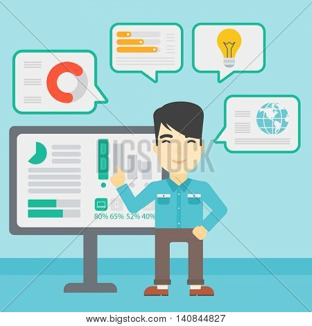 An asian businessman pointing at charts on a board during business presentation. Man giving a business presentation. Vector flat design illustration. Square layout.