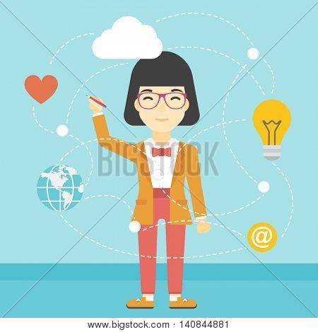 An asian woman writing on a virtual screen. Business woman drawing a cloud computing diagram on a virtual screen. Cloud computing concept. Vector flat design illustration. Square layout.
