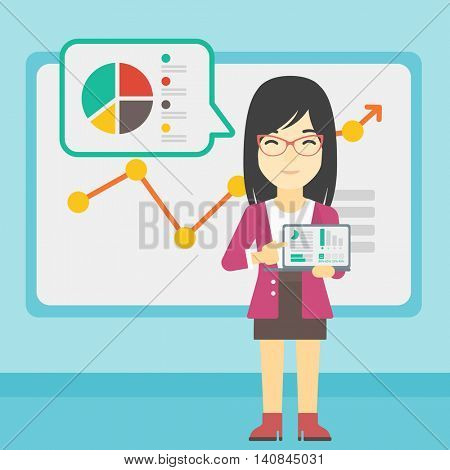 An asian business woman pointing at charts on laptop screen. Woman presenting report with a laptop on the background of board with graph. Vector flat design illustration. Square layout.