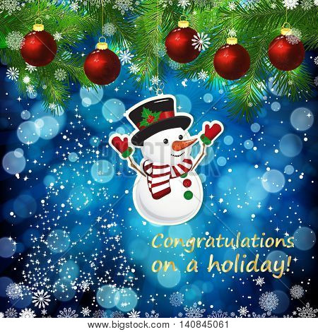 Vector New Year design background. Template card whit red Christmas balls on the green branches . Silhouette of a Christmas tree made of stars. Falling snow. Toy decorative snowman.