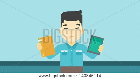 An asian man choosing between a tablet computer and a paper book. Man holding book in one hand and tablet computer in the other. Vector flat design illustration. Horizontal layout.