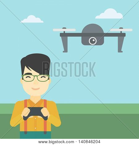 An asian man flying drone with remote control. Man operating a drone with remote control. Man controling a drone. Vector flat design illustration. Square layout.