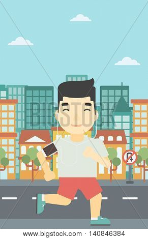 An asian man running with earphones and armband for smartphone. Man listening to music during running. Man running on a city background. Vector flat design illustration. Vertical layout.