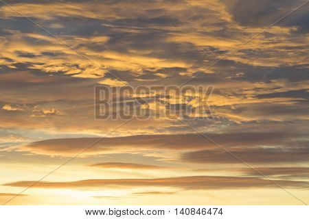 Sunset with clouds light rays and other atmospheric effect.