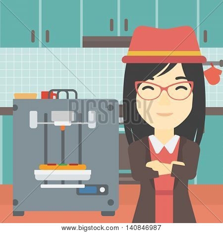 An asian young woman working with three D printer making pizza on the background of kitchen. Woman with crossed arms standing near 3D printer. Vector flat design illustration. Square layout.