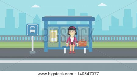 An asian woman with briefcase waiting for a bus at a bus stop on a city background. Young woman sitting at bus stop at the city street. Vector flat design illustration. Horizontal  layout.