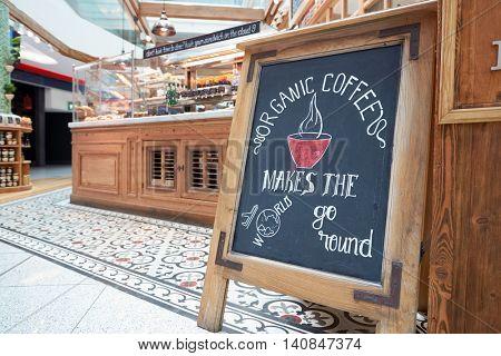 DUBAI, UAE - MAY 13, 2016: cafe at Dubai International Airport. Dubai International Airport is the primary airport serving Dubai, United Arab Emirates.