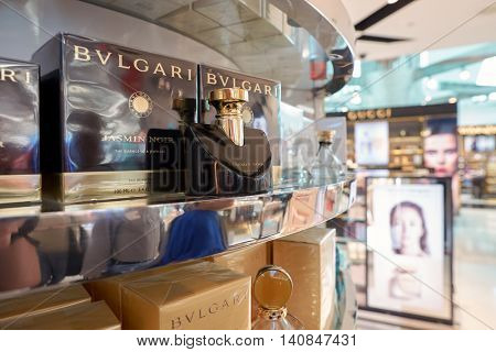 DUBAI, UAE - MAY 13, 2016: close up shot of Bulgari perfume in duty-free at Dubai International Airport. Bulgari is an Italian jewelry and luxury goods brand