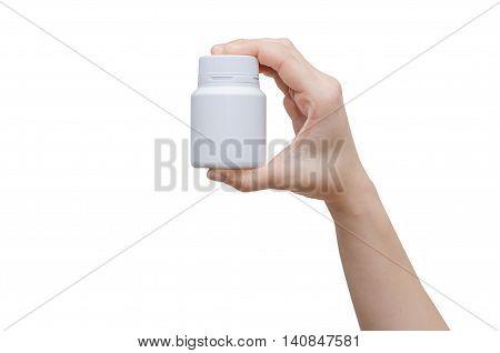 pharmacist hand holding medicine bottle isolated on white background