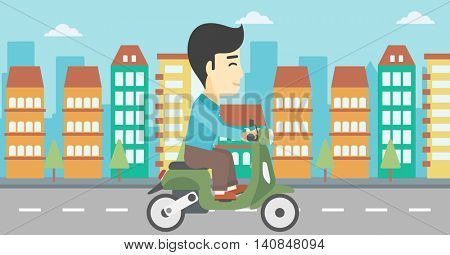An asian young man riding a scooter on a city background. Young man driving a scooter in the street. Vector flat design illustration. Horizontal layout.