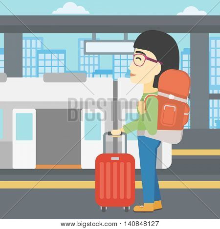 An asian woman standing at the train station on the background of train with open doors. Young woman with suitcase waiting for a train. Vector flat design illustration. Square layout.