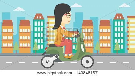 An asian young woman riding a scooter on a city background. Young woman driving a scooter in the street. Vector flat design illustration. Horizontal  layout.