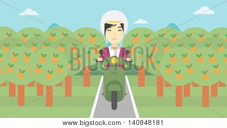 An asian young woman riding a scooter on the asphalt road through the orchard. Young woman in helmet driving a scooter. Vector flat design illustration. Horizontal  layout.