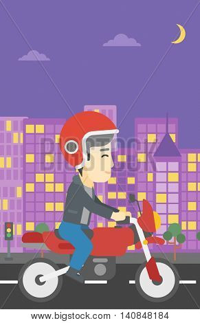 An asian young man in helmet riding a motorcycle on the background of night city. Man driving a motorbike on a city road. Vector flat design illustration. Vertical layout.