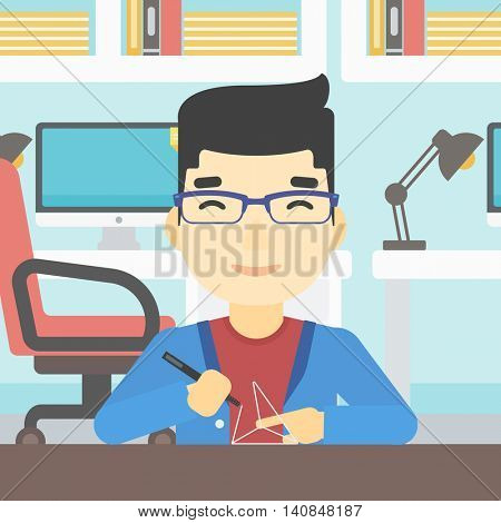 An asian young man making a model with a 3D pen. Man drawing geometric shape by 3d pen. Man working with a 3d-pen. Vector flat design illustration. Square layout.