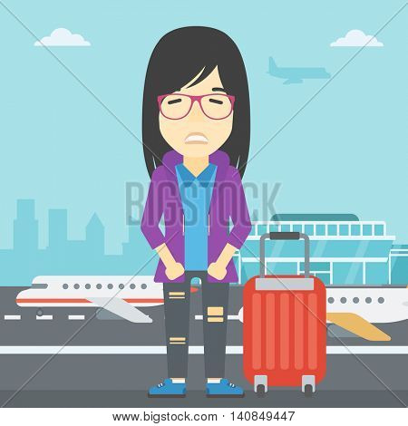 An asian woman frightened by future flight. Woman standing at airport and suffering from fear of flying. Phobia, fear of flying concept. Vector flat design illustration. Square layout.