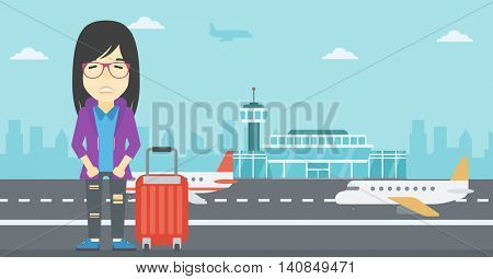 An asian woman frightened by future flight. Woman standing at airport and suffering from fear of flying. Phobia, fear of flying concept. Vector flat design illustration. Horizontal  layout.