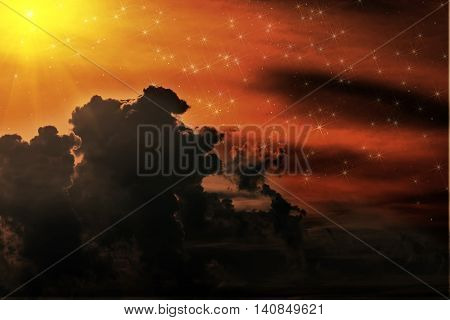 Colorful abstract background of space with nebulae and stars in red yellow and dark colors